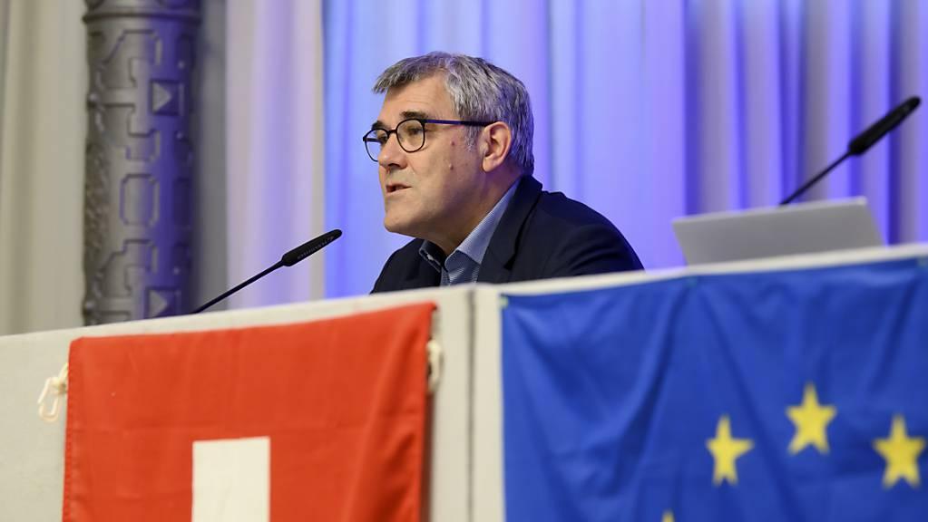Die Europäische Bewegung Schweiz ruft an ihrer Generalversammlung zu einem Abschluss des «Schlüsselvertrags» mit der EU bis zur Sommerpause auf. Im Bild Präsident und Nationalrat Eric Nussbaumer (SP/BL).