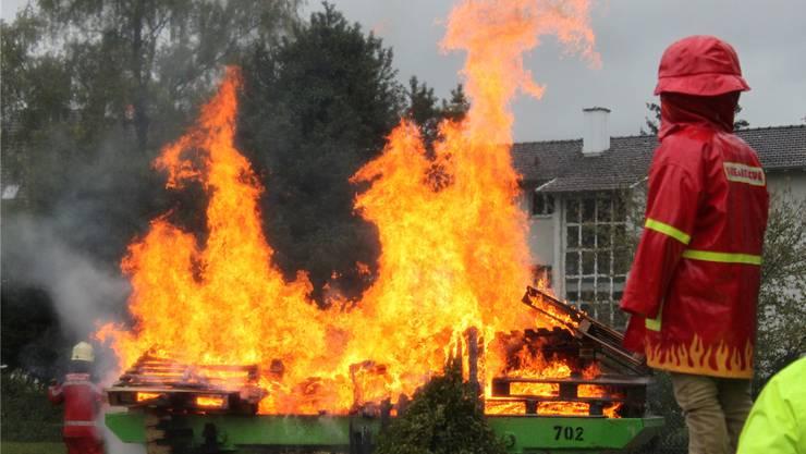 Feuer kommt aus der Mulde und wird anschliessend gelöscht: Die Feuerwehr zeigte ihren spektakulären Übungseinsatz an der Austrasse vor viel Publikum.