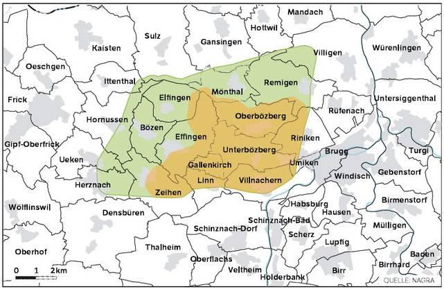 Die Karte zeigt, welche Gemeinden von einem Endlager im Bözberg betroffen wären.