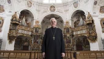 Abt Benno Malfèr in der ehemaligen Klosterkirche Muri, 175 Jahre nach der Vertreibung der Benediktiner-Mönche aus dem Freiamt.  Eine Rückkehr der Mönche aus Südtirol nach Muri ist für ihn «weder denk- noch wünschbar.»