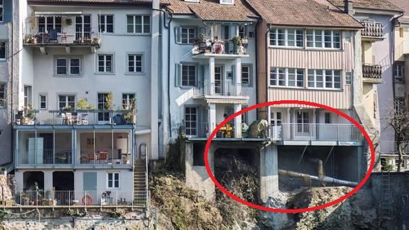 Abgestürzter Balkon: Häuserzeile weisst Risse in Brandschutzmauer auf