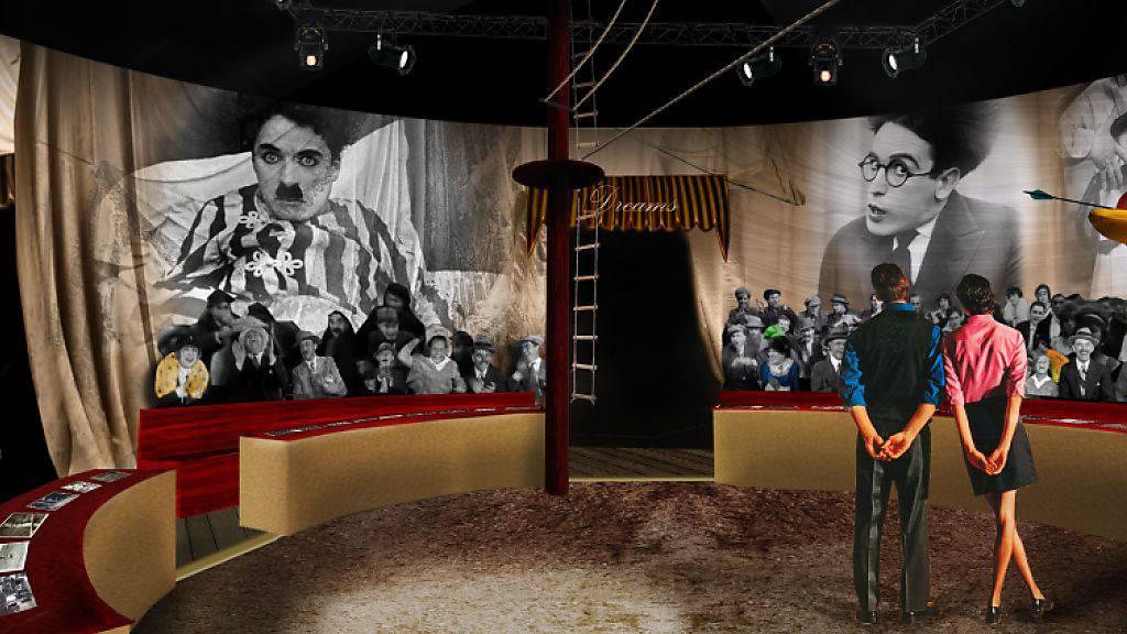 Bei dem Rundgang durch das Studio in Corcier-sur-Vevey VD können Besucher auch Dekors wie aus dem Film «The Circus» betreten.