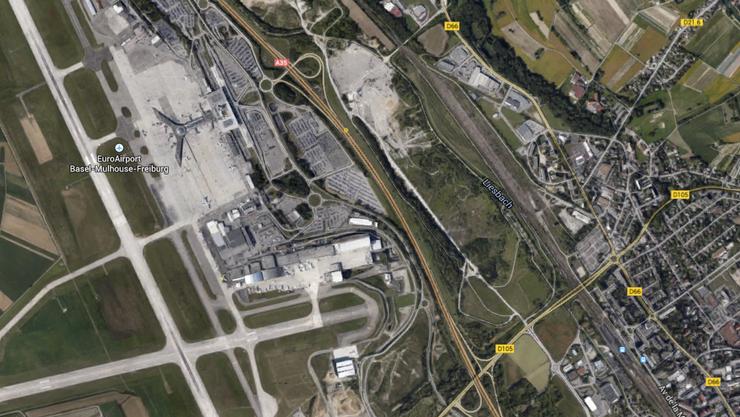Auch Sporteinrichtungen und ein Kino soll die neue Mall zwischen dem Bahnhof von Saint-Louis (unten rechts) und dem Euro-Airport beinhalten.
