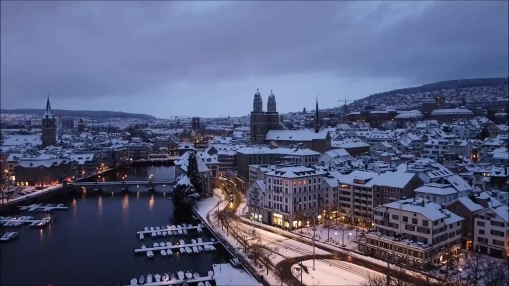 Drohnenbilder: Zürich im Wintertraum