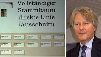 Roland Kissling (Foto) hat den Stammbaum der Münchwiler Familie Denz vollständig erforscht, hier ein Ausschnitt aus der direkten Linie. – Fotos: chr