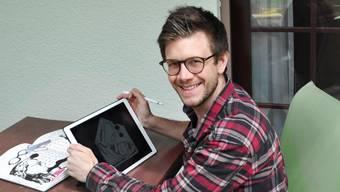 Der Grafiker Andreas Güntensperger mit seiner «Karikantänechallenge» (21.04.2020)
