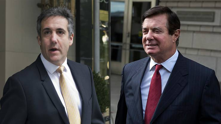 Trumps Ex-Anwalt Michael Cohen (l.) macht einen Deal mit der US-Justiz. Paul Manafort, Ex-Wahlkampfleiter von US-Präsident Donald Trump, wird indes in acht von 18 Punkten vom Gericht schuldig gesprochen.
