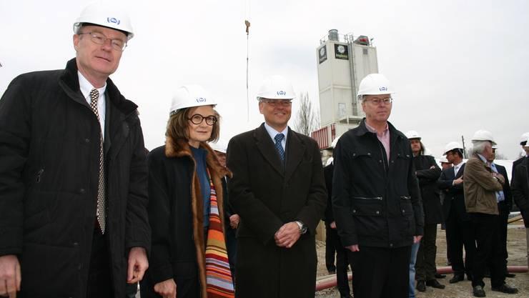 Martin Haefner (AMAG-VR-Präsident), Architektin Tilla Theus, AMAGCEO Morten Hannesbo und Schlierens Stadtpräsident Toni Brühlmann.  jk
