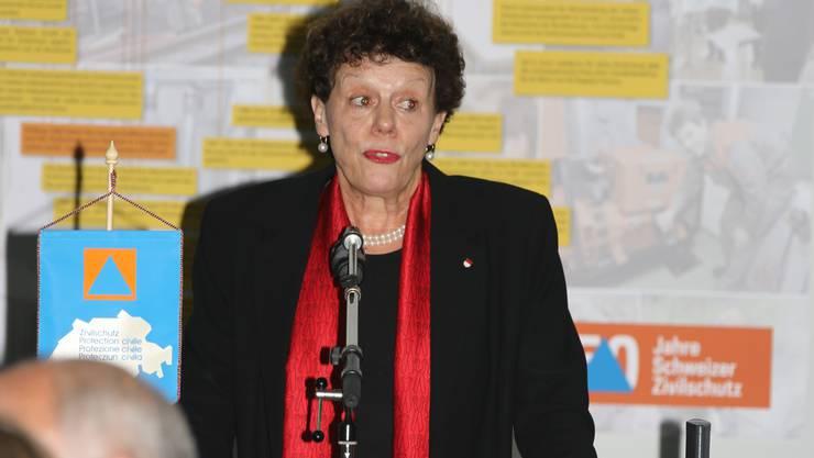 Frau Landammann Esther Gassler bei ihrer Gratulation zum 50-jährigen Bestehen des Zivilschutz.