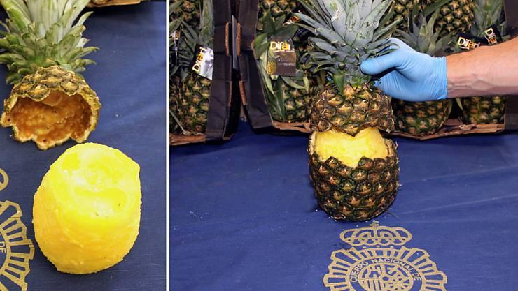 Die spanische Polizei hat 67 Kilogramm Kokain beschlagnahmt, das in ausgehöhlten Ananas versteckt war.