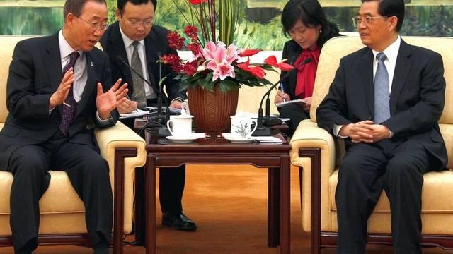 Ban Ki Moon und Hu Jintao im Gespräch