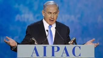 Benjamin Netanjahu bei seiner Rede vor der pro-israelischen Lobbyorganisation AIPAC.