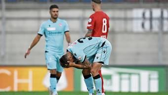 Fassungslose Thuner Spieler nach dem Barrage-Hinspiel in Vaduz.