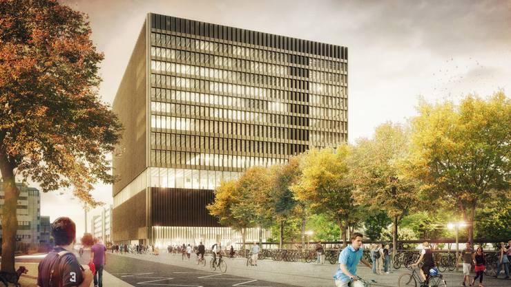 Visualisierungen des Neubaus der FHNW in Muttenz namens Kubuk.