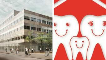 Lachende Zähne werben fürs Zentrum