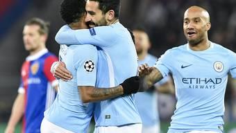 Torjubel von Manchester City gegen Basel mit Ilkay Gündogan (Bildmitte)