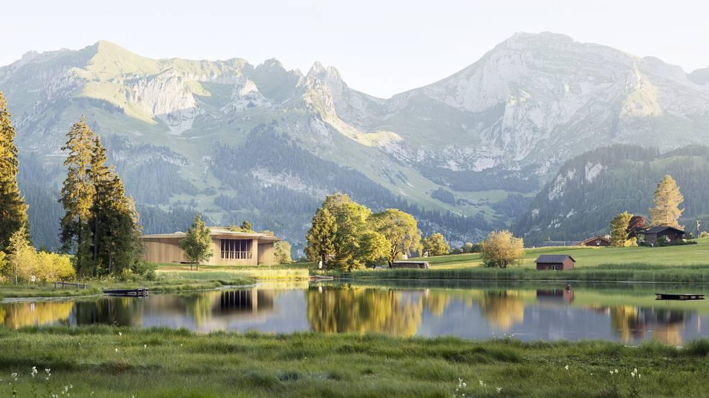 Die Holzkonstruktion Klanghaus soll vor allem aus einheimischem Holz gebaut werden. Es ist am Schwendisee oberhalb Unterwasser  geplant.