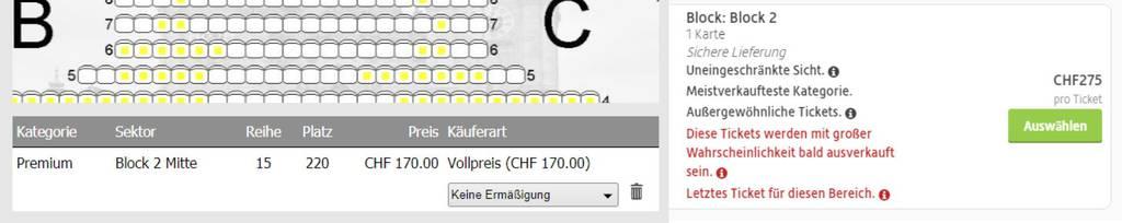 Original vs. Viagogo: Der Unterschied ist gross. (Screenshots: Ticketshop St.Galler Festspiele/viagogo.ch)