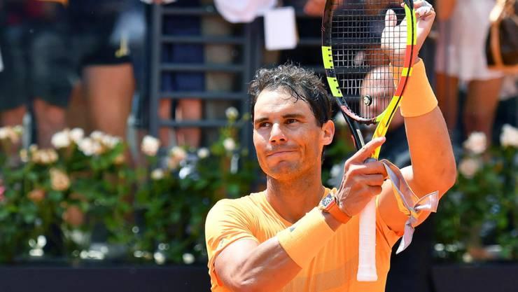 Rafael Nadal bedankt sich in Rom beim Publikum