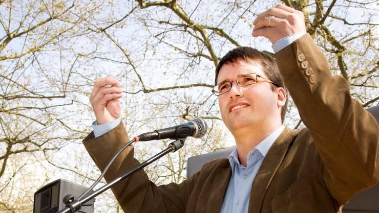 Damals frisch gebackener SP-Präsident: Christian Levrat am 1. Mai 2008 bei seiner Ansprache.