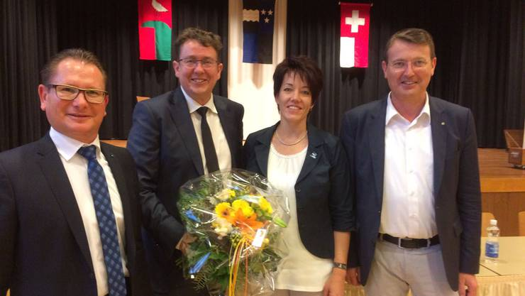 V.l.n.r: Rolf Jäggi, Albert Rösti, Jacqueline Felde, thomas Burgherr