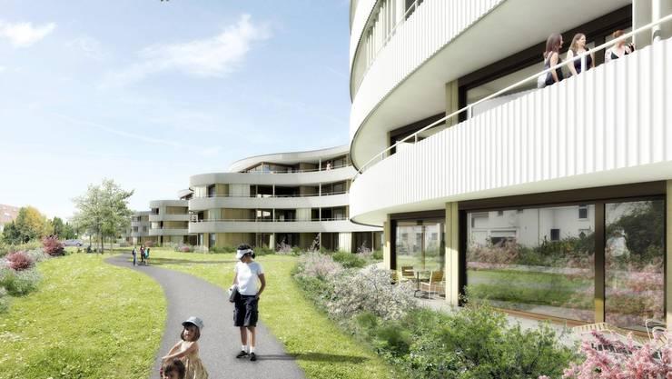 Mit geschwungenen Ausbuchtungen fangen die 90 Wohnungen der «Welle» die Abendsonne ein. Visualisierung Frei Architekten Aarau