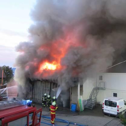 Beinwil am See AG, 16. September: Dicke Rauchwolke über dem Hallwilersee: Ein Fabrikationsbetrieb brannte lichterloh – drei Menschen mussten ins Spital eingeliefert werden.