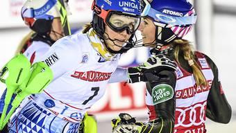 Mikaela Shiffrin (rechts) oder Petra Vlhova - wer gewinnt in Lienz den letzten Weltcup-Slalom in diesem Jahr?