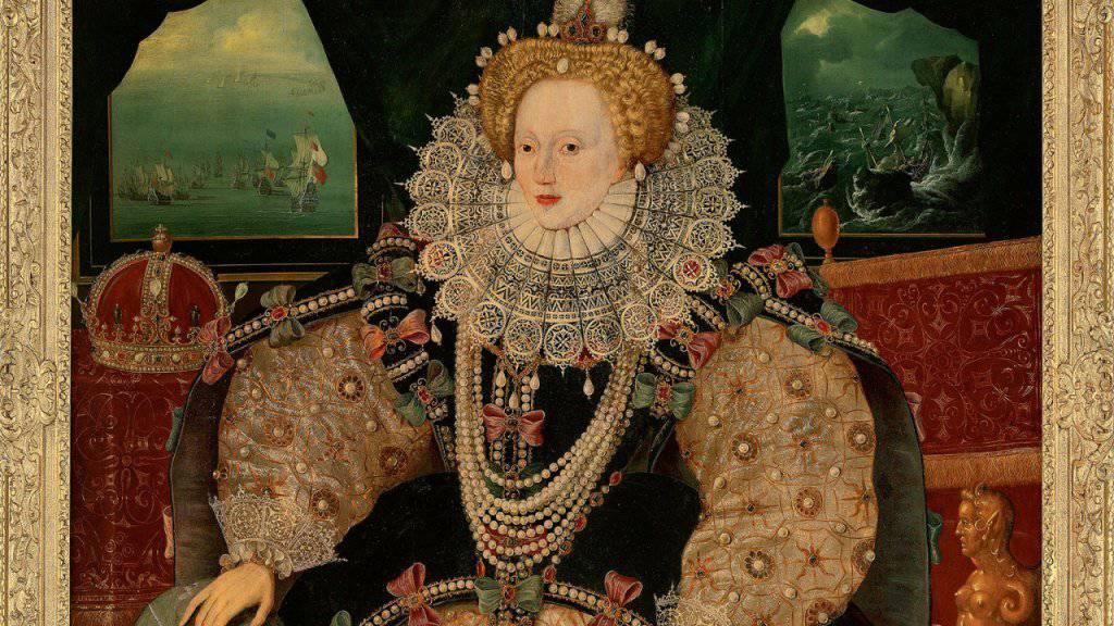 Das Porträt zeigt die englische Königin Elizabeth I. vor dem Hintergrund des Untergangs der spanischen Armada.