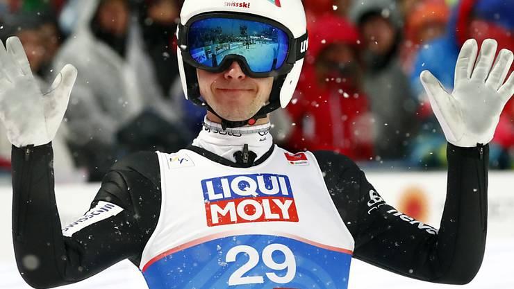 Simon Ammann zeigt in der Qualifikation in Lillehammer eine starke Leistung und belegt Platz 5