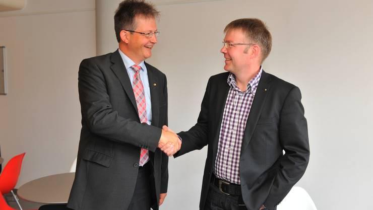 Die Parteipräsidenten Ernest Cavin (BDP) und Christian Scheuermeyer (FDP) haben die Listenverbindung bei den PArteiversammlungen durchgebracht.