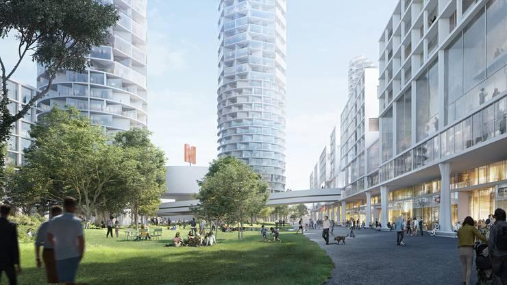 Im Dreieck zwischen Dornacher-, Reinacher- und Münchensteinerstrasse soll ein neues städtisches Quartier mit drei Hochhäusern und einem Stadtpark entstehen.