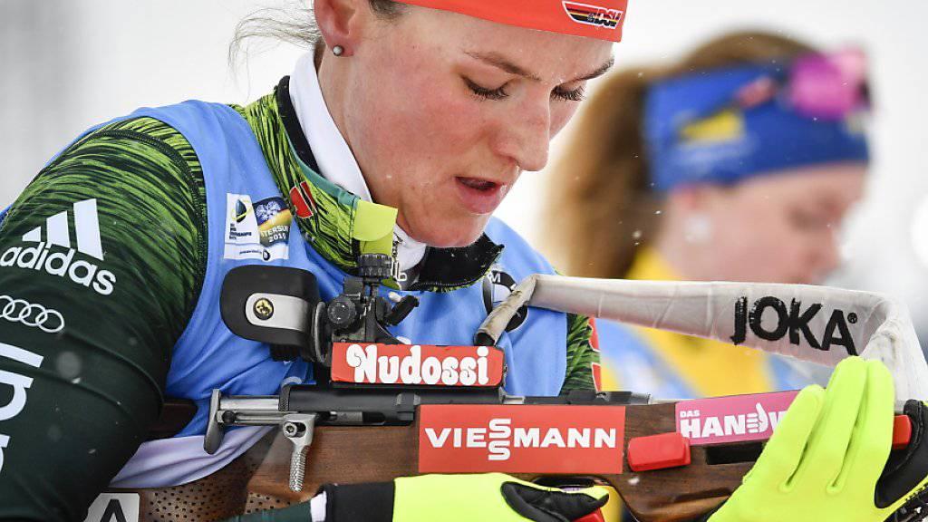 Schnell laufen konnte sie schon lange, nun traf sie auch hervorragend: Die ehemalige Langläuferin Denise Herrmann gewann an der Biathlon-WM in Östersund die Goldmedaille in der Verfolgung