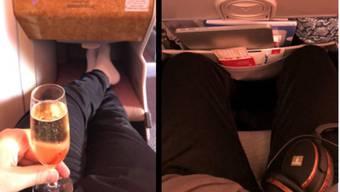 Im Vergleich: In der Business-Klasse (links) kann man seinen Sitzplatz in ein Bett verwandeln, in der Economy (rechts) muss man fast aufrecht dösen.