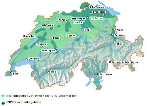 Die aufgeführten Orte umschreiben nur grob die auf der Karte dargestellten Hochrisikogebiete. Aargau:Rheinfelden/Möhlin/Wallbach, Bezirk Laufenburg,   Koblenz/Döttingen/Zurzach, Birr/Brugg/Würenlingen, Baden/Wettingen, Rothrist/Zofingen/Brittnau, Gontenschwil/Schöftland/Muhen/Gränichen