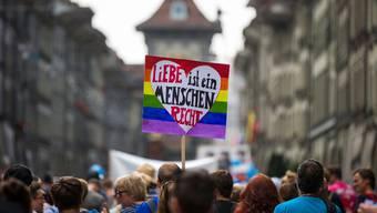 Teilnehmer der «Pride Quest Berne» demonstrieren für die Rechte von Homosexuellen.
