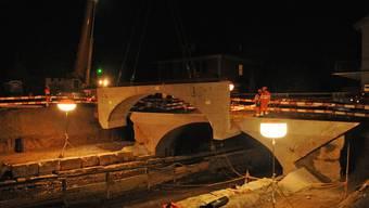 Impressionen von der Verbreitung der Suhrebrücke an der Tramstrasse in Suhr.