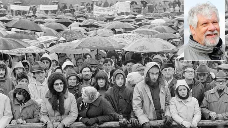 Peter Scholer, Gründer der Gewaltfreien Aktion Kaiseraugst, erinnert sich noch heute: «Wir erinnerten uns an Gandhis Beispiel und beschlossen, den Bauplatz des Atomkraftwerks zu besetzen.»
