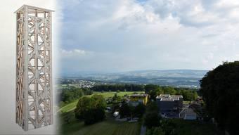 Links ein Modellfoto des künftigen Hasenbergturms, im Hintergrund die Aussicht, wie man sie einst auf 35 Meter Höhe geniessen könnte.