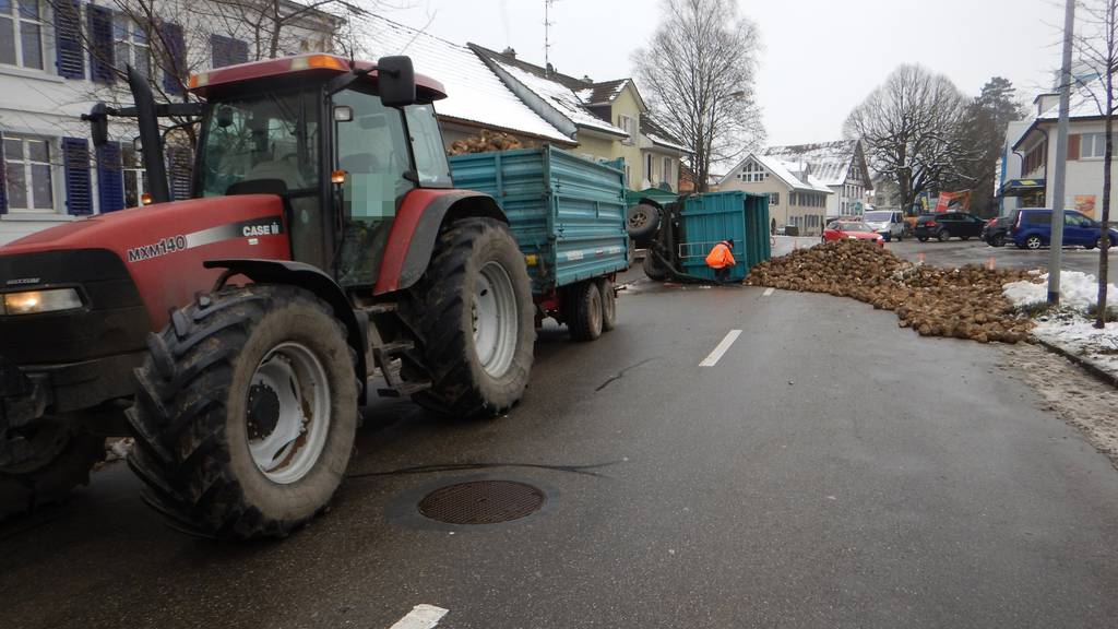 Weil die Rüben über die Strasse verstreut lagen, musste der Verkehr umgeleitet werden