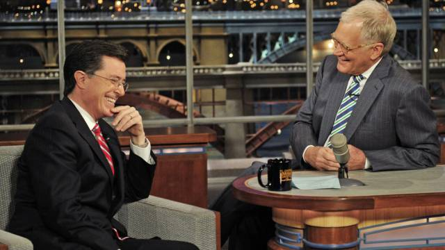 Stephen Colbert (links) und David Letterman (Archivbild)