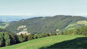 Die Visualisierungen der Windpark Burg AG und der Vento Ludens Suisse GmbH zeigen, wo die vier geplanten Windkrafträder zu stehen kommen würden und wie sie in der Landschaft aussehen.