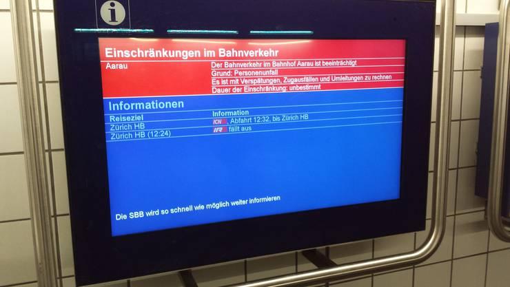 Der Personenunfall hat sich am Dienstagvormittag am Bahnhof Aarau ereignet.
