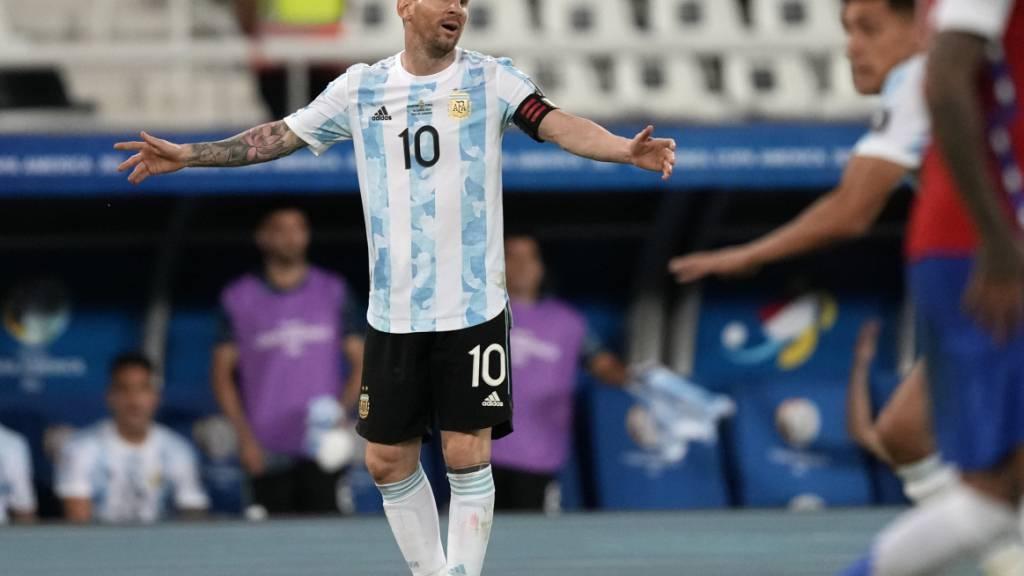 Lionel Messi brachte Argentinien nach 33 Minuten mit 1:0 in Führung, doch Chile glich in der zweiten Halbzeit zum 1:1-Endresultat aus