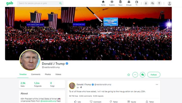 Sieht Twitter sehr ähnlich: Die Seite Gab.com.