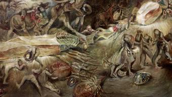 «Alpaufzug» nennt Matthias Wyss sein unheimliches Bild. Es erinnert an mittelalterliche Malerei.
