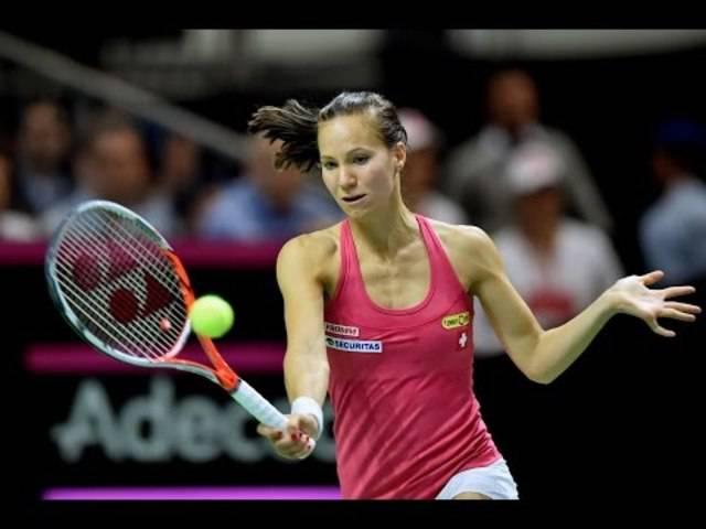 Viktorija Golubic rettete die Schweiz mit ihrem Sieg gegen Karolina Pliskova in das entscheidende Doppel.