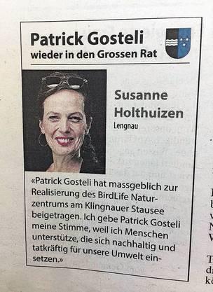 Auch Susanne Holthuizen steht hinter dem SVP-Politiker.