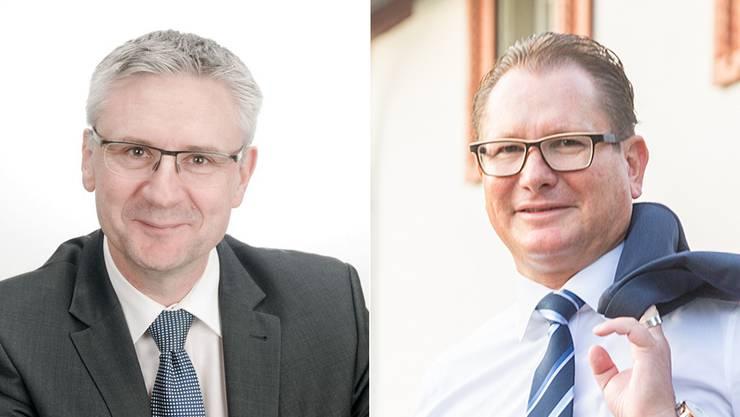 Andreas Glarner (links) und Rolf Jäggi kandidieren für das Amt des Präsidenten der SVP Aargau.