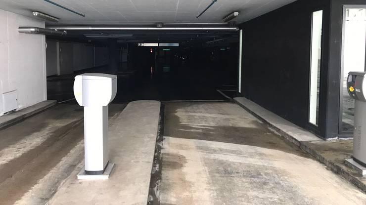 Die Einfahrt des Bahnhofparkings Zofingen